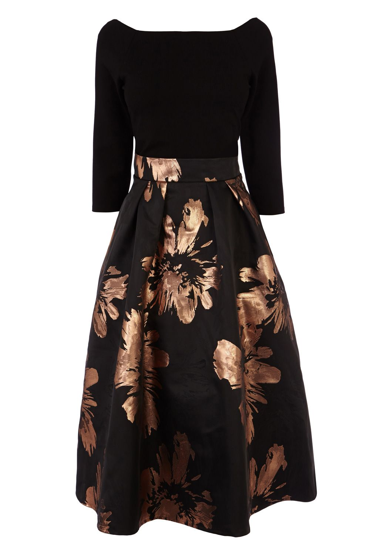 Semi formal wedding guest dresses  Short Dresses  Black CHLOEY METALLIC JACQUARD DRESS  Coast Stores