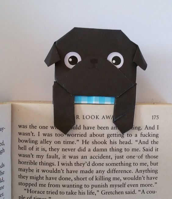 Cool Bookmarks Part - 23: Page Planner Bookmark, Origami Paper Pug Origami, Handfold Unique Dog  Bookmark, Black Pug, Cool Bookmark, Pug