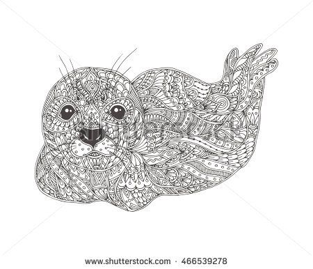 Hand-drawn seal with ethnic floral doodle pattern. Coloring page ...