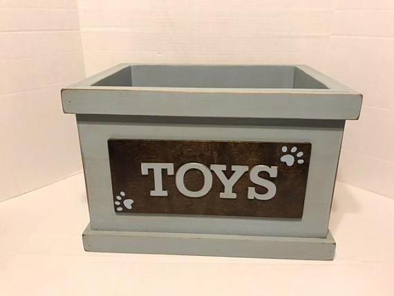Toy Box Storage Box Wooden Toy Box Toy Storage Nursery Decor Dog