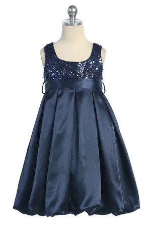 Navy blue Sequined bodice Flower Girl Dress