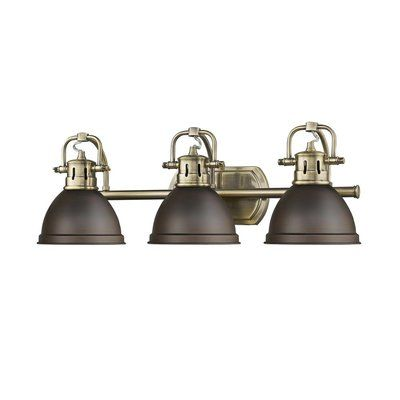 Photo of Morgane 3-Light Vanity Light Finish: Aged Brass with Black Shades