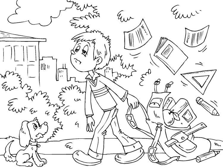 Dibujo para colorear: De vuelta al colegio. | De vuelta al colegio ...