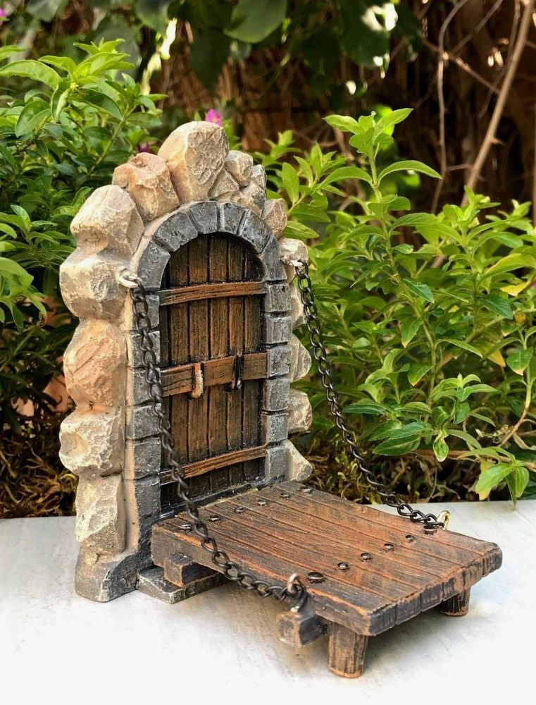 Miniature Dollhouse FAIRY GARDEN ~ Fairytale ENCHANTED Door w Drawbridge ~ NEW  | eBay #miniaturedollhouse