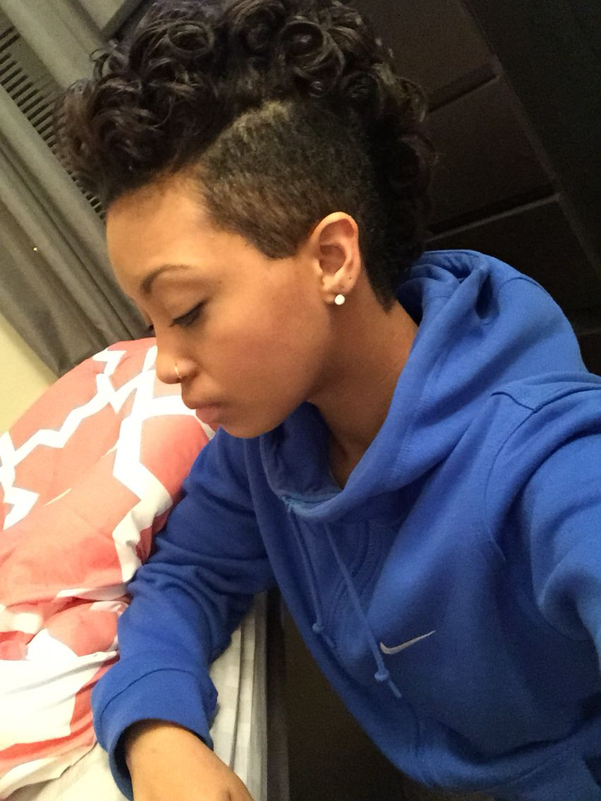 Short hairstyle mohawk for black women shaved sides shaved