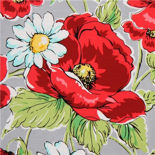 Grey Michael Miller Flower Fabric With Poppies Fab Fabric