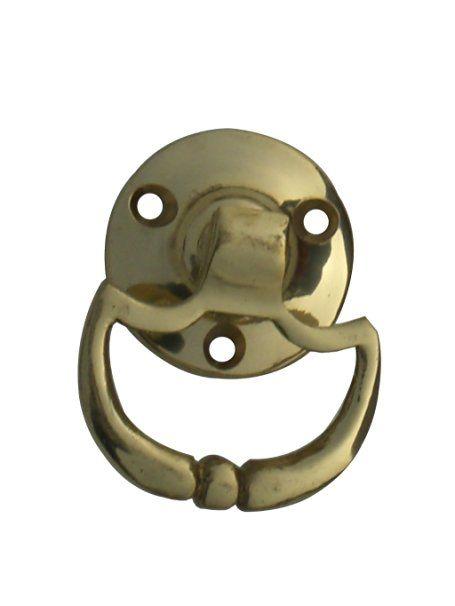 1 x Solid polished brass 50mm tear drop ring pull cabinet knob.