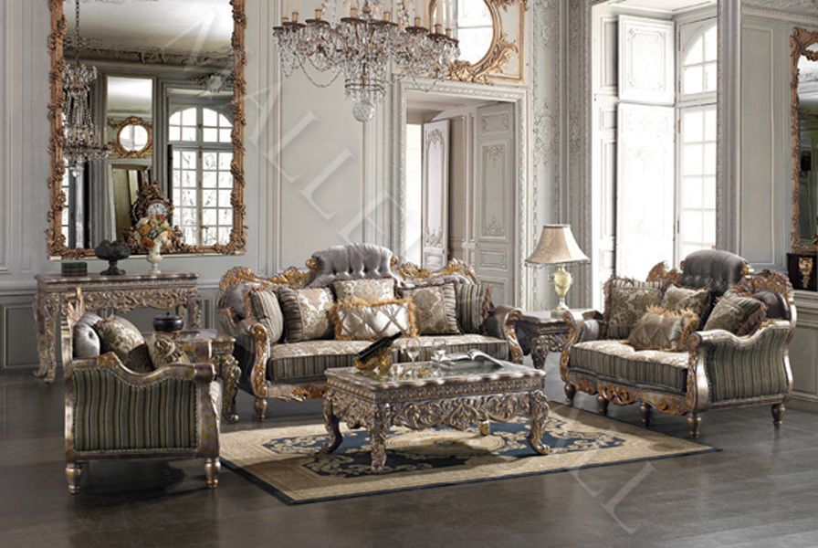 Italian Carved Tufted Silver Gold Leaf Sofa Set Sofa Loveseat