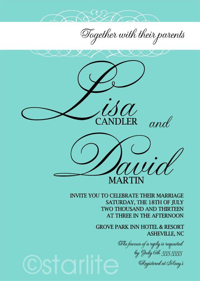 Tiffany Blue wedding invitation - FLOURISH in Tiffany Blue wedding ...