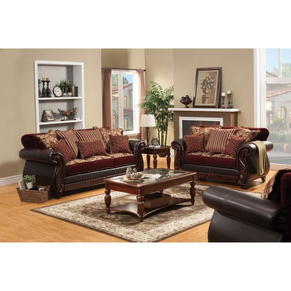 Furniture Of America Traditional Franchesca 2Piece Fabric Delectable Burgundy Living Room Decor Review