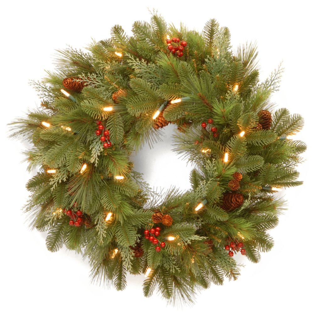 24 In Prelit Wreath White Led Lighted Merry Christmas Home Indoor Decorations