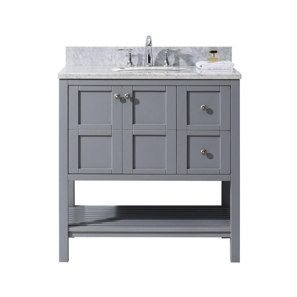 Virtu Usa Winterfell 36 In W Bath Vanity In Gray With Marble Vanity Top In White With Round Basin Es 30036 Wmro Gr Nm The Home Depot Single Bathroom Vanity Bathroom Vanity Base Marble Vanity