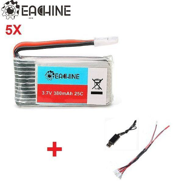 5X Eachine 3.7v 380mah Lipo Battery with 1 to 5 USB Charging Cable for H107L H107C H107D