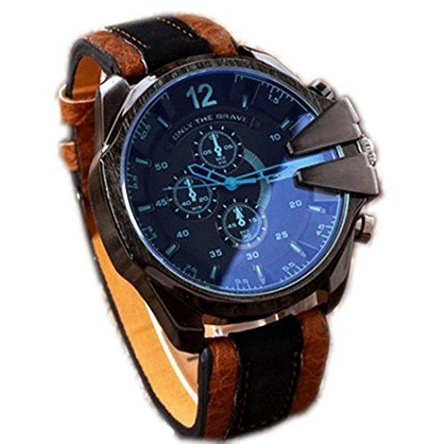 Creazy Mens Analog Sport Steel Case Quartz Dial Synthetic Leather Wrist Watch * Click image to review more details.Note:It is affiliate link to Amazon.