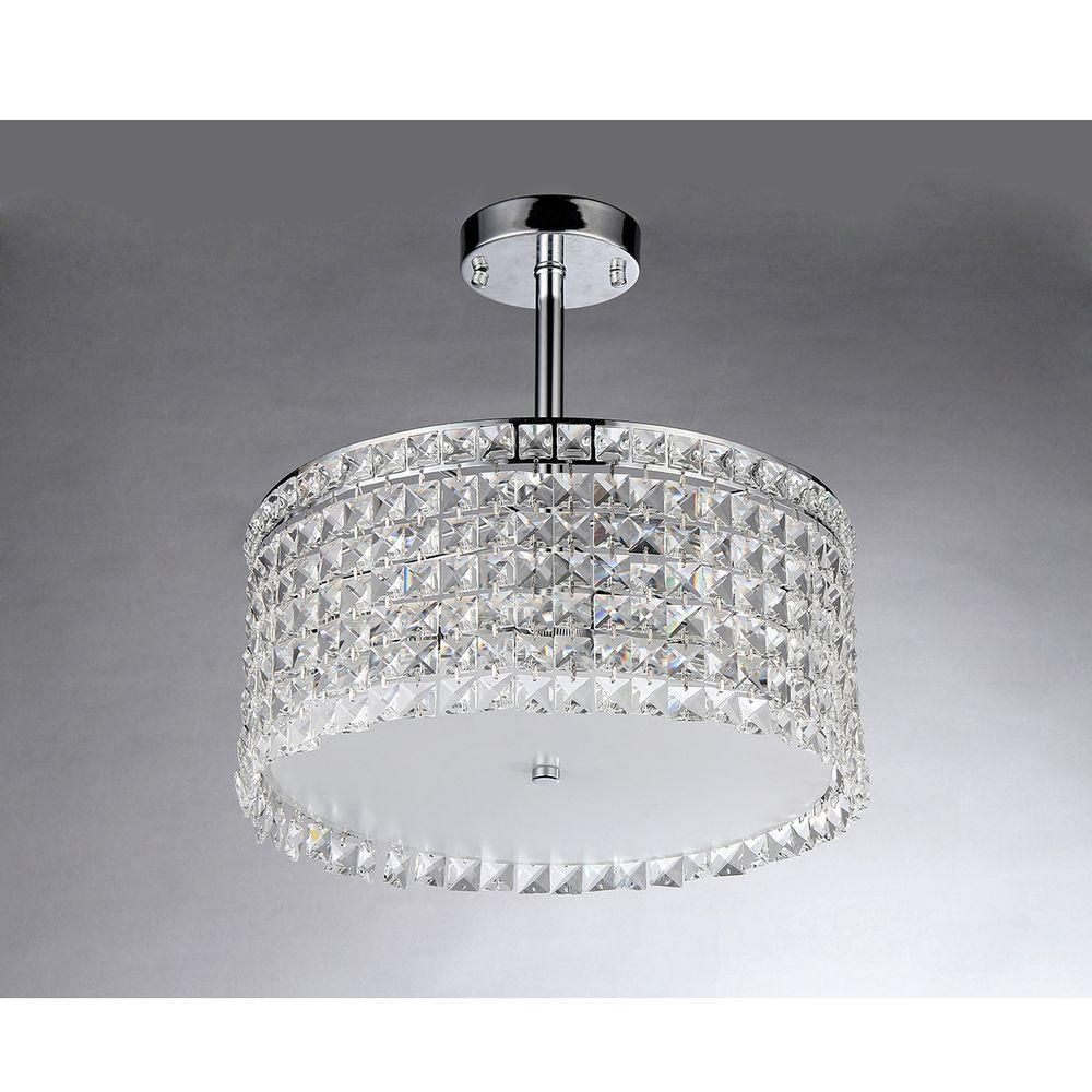 Warehouse of Tiffany Garcia Crystal 4-Light Chrome Chandelier with ...