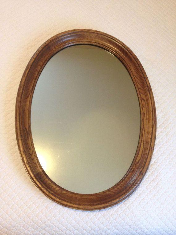 Large Vintage Oval Mirror W Solid Oak Frame Wall Hanging Frames