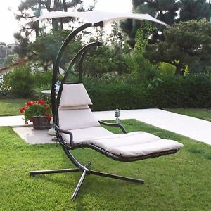 Surprising Beige Hanging Chaise Lounger Hammock Chair Porch Deck Patio Home Remodeling Inspirations Propsscottssportslandcom