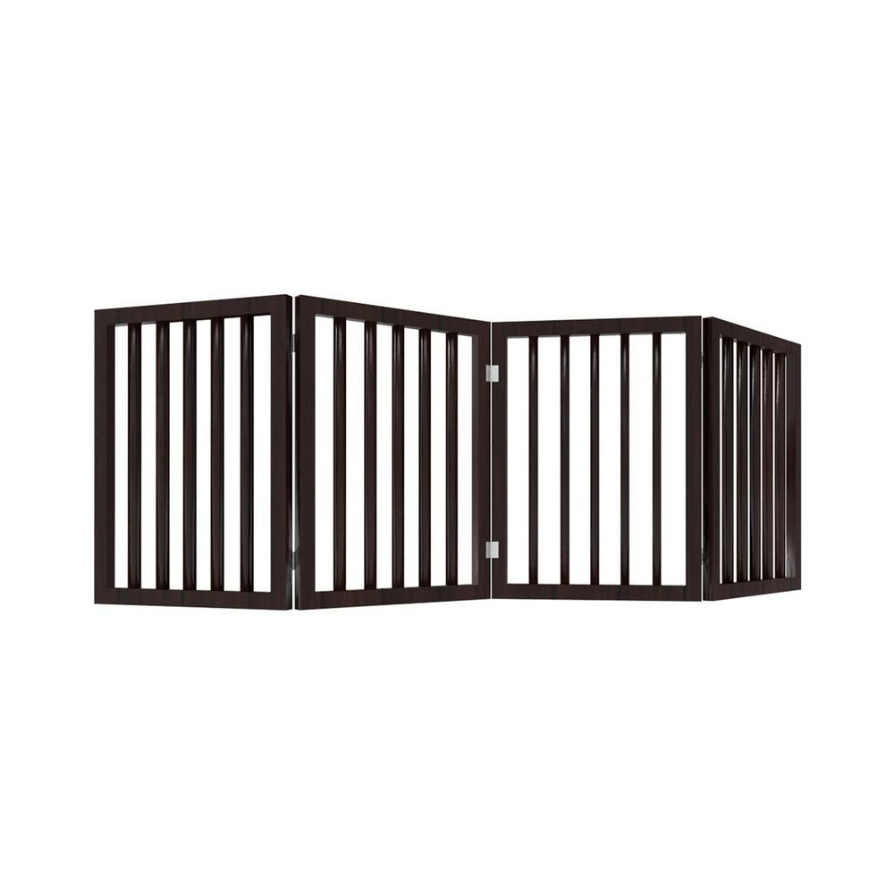 Petmaker 4 Panel Wooden Freestanding Folding Pet Gate In Brown In 2020 Pet Gate Home Decor Home