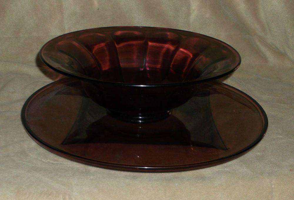 "Amethyst purple glass bowl w/platter, 9"" across bowl, 12"" across platter, ribbed"