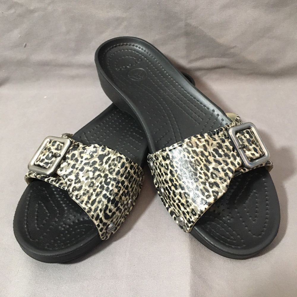 900b3c1dbb CROCS Sarah Slide Sandals Shoes Leopard Animal Print Size 8 #Crocs #Slides  #Casual