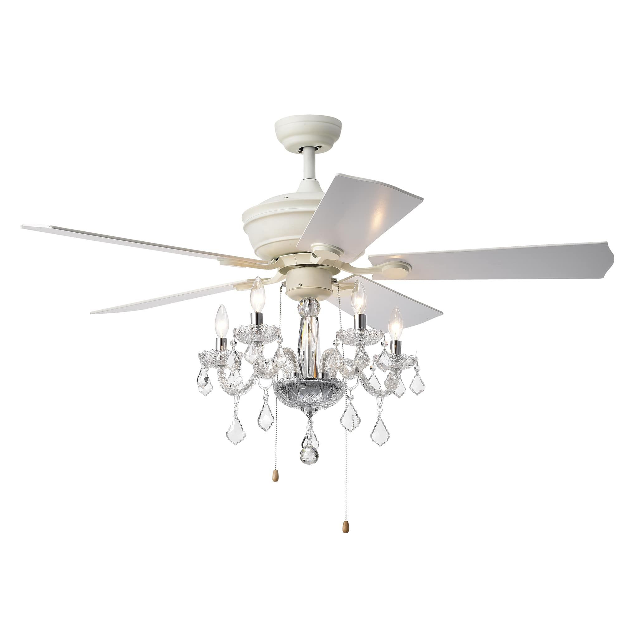 Havorand Ii 5 Light Crystal 5 Blade 52 Inch White Finish Ceiling