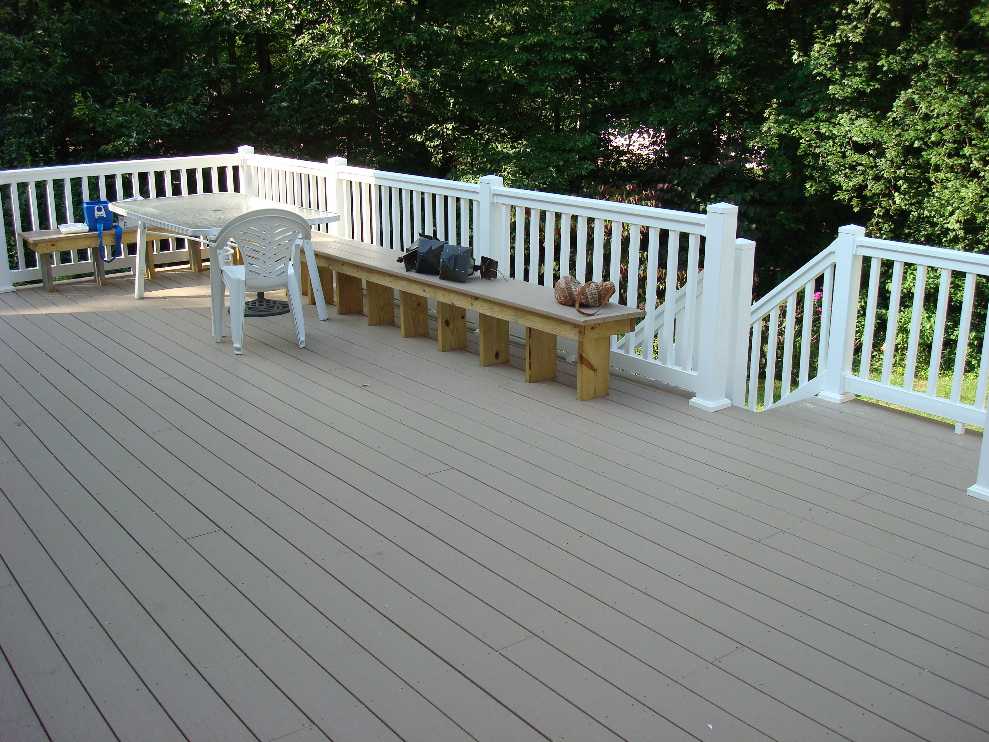 deck white rails with grey. Maintenance free materials of