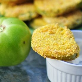 Classic Southern fried green tomatoes, fresh from the garden.