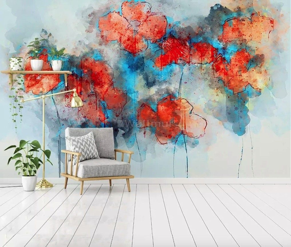 Red Blue Abstract Poppy Flowers Wallpaper Mural Abstract Poppies Abstract Art Wallpaper Abstract Watercolor Flower