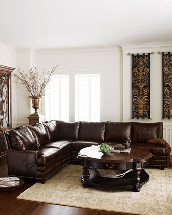 Leather High Back Sectional Sofa At Horchow Sturdy Hardwood Frame