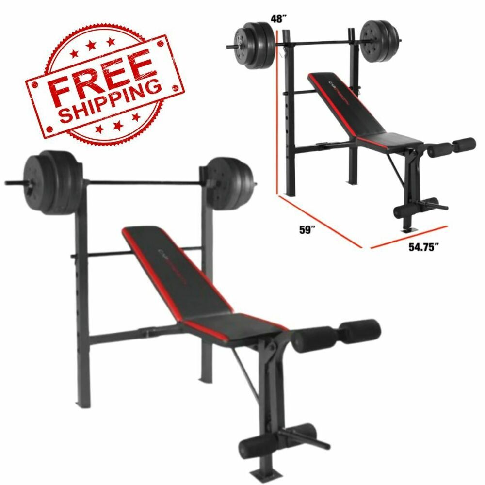 Ad Ebay Weight Bench W Weights Set 100lb Bar Press Barbell Dumbbell Set Home Gym Workout Weight Benches Weight Set At Home Gym