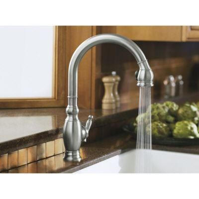 Kohler Vinnata 1 Or 3 Hole Single Handle Pull Down Sprayer Kitchen Faucet In Vibrant Stainless K 690 Vs The Home Depot
