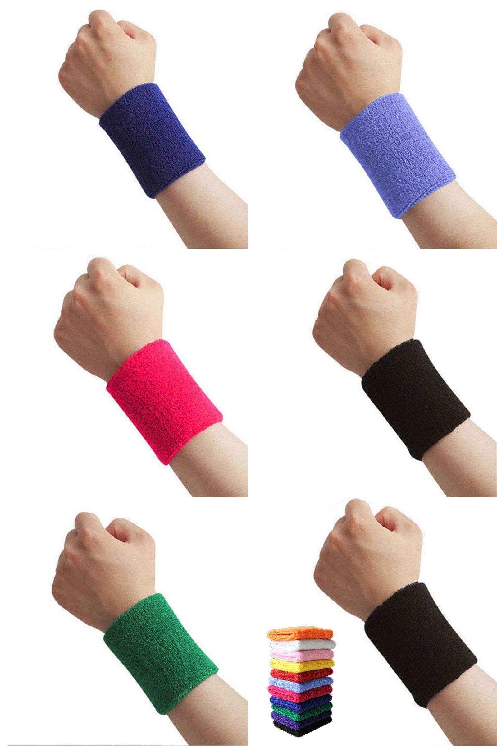 2pcs Unisex-Cotton Sweatband Sports Wrist Band Tennis Gym Yoga Sweat Wristband
