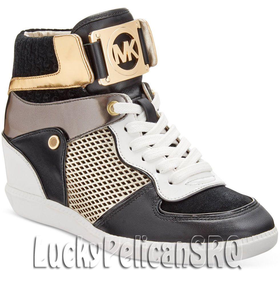 afda63e2cea2 Michael Kors Nikko High-Top Sneakers Black  Gold M(Medium) NWB  MichaelKors…