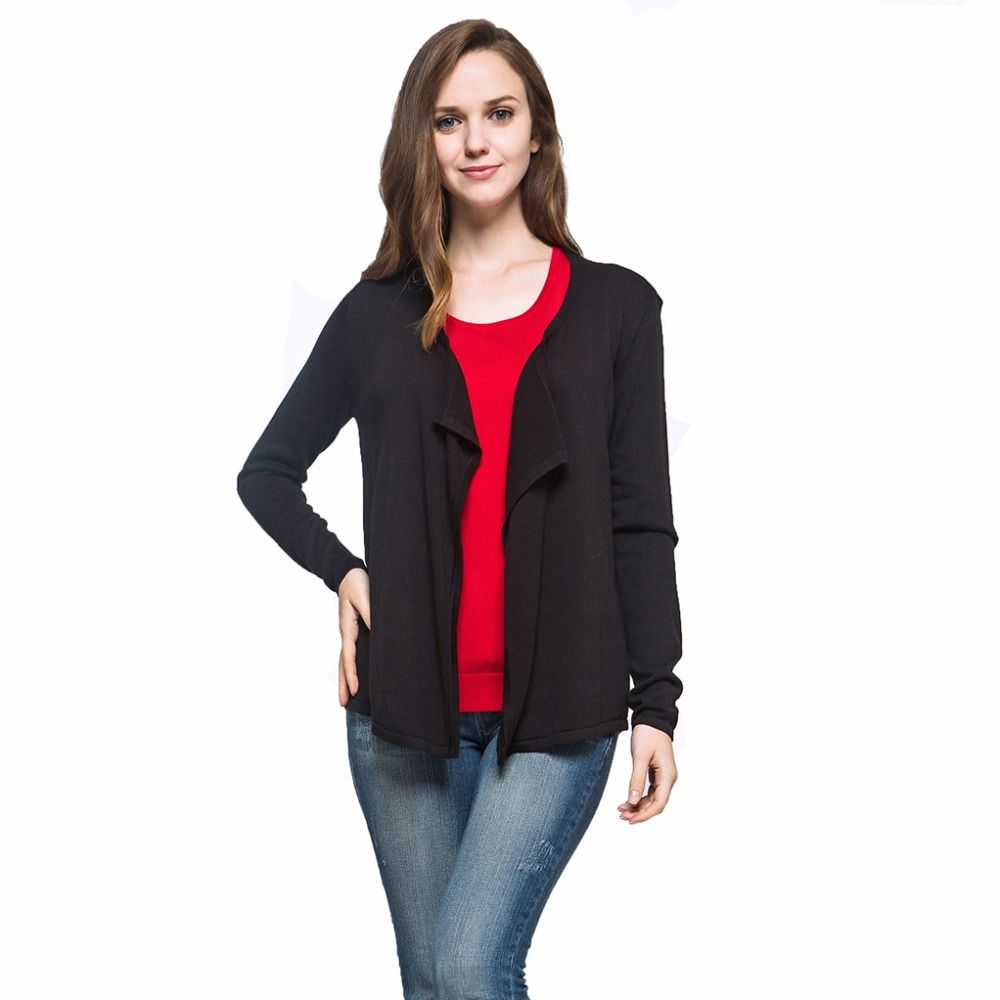 Spring Autumn Women Soft Suit Collar Knitted Black Cardigan ...