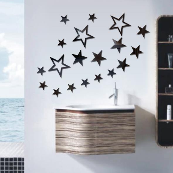 3D Star Multicolor DIY Formas Espejo Wall Stickers Casa Dormitorio  Dormitorio Oficina Decoración