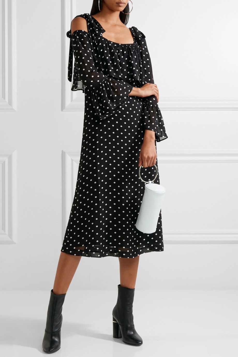 Ganni Monette Cold Shoulder Polka Dot Georgette Dress Net A
