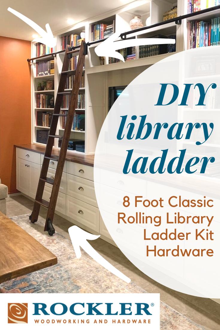 Rockler 8 Foot Classic Rolling Library Ladder Kit Hardware With 12 Feet Of Track Satin Black Library Ladder Diy Home Decor Easy Diy Home Decor