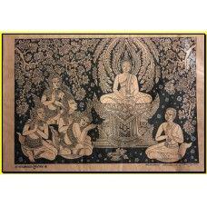 Thai traditional art of Buddha by silkscreen printing on cotton (PP043)