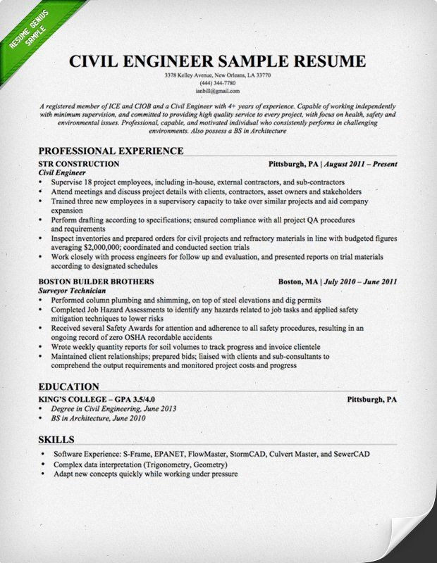 Civil Engineering Resume Sample Teacher Resume Examples