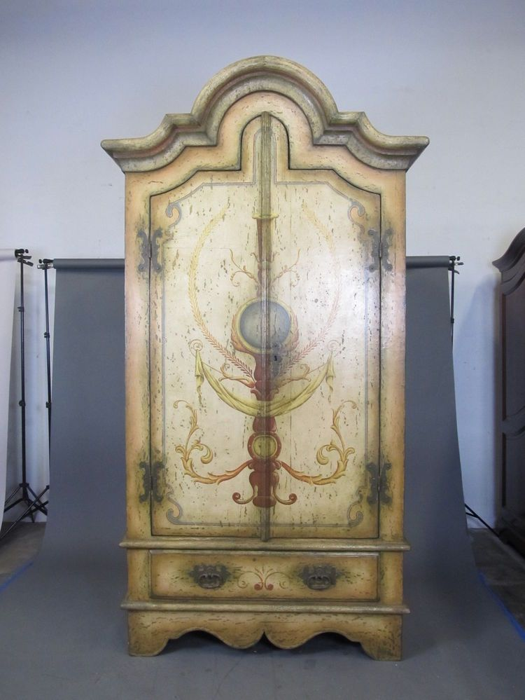 COLONIAL BRAZIL Large Handpainted French Country Rustic Armoire Wardrobe  Dresser #ColonialBrazil #FrenchCountry