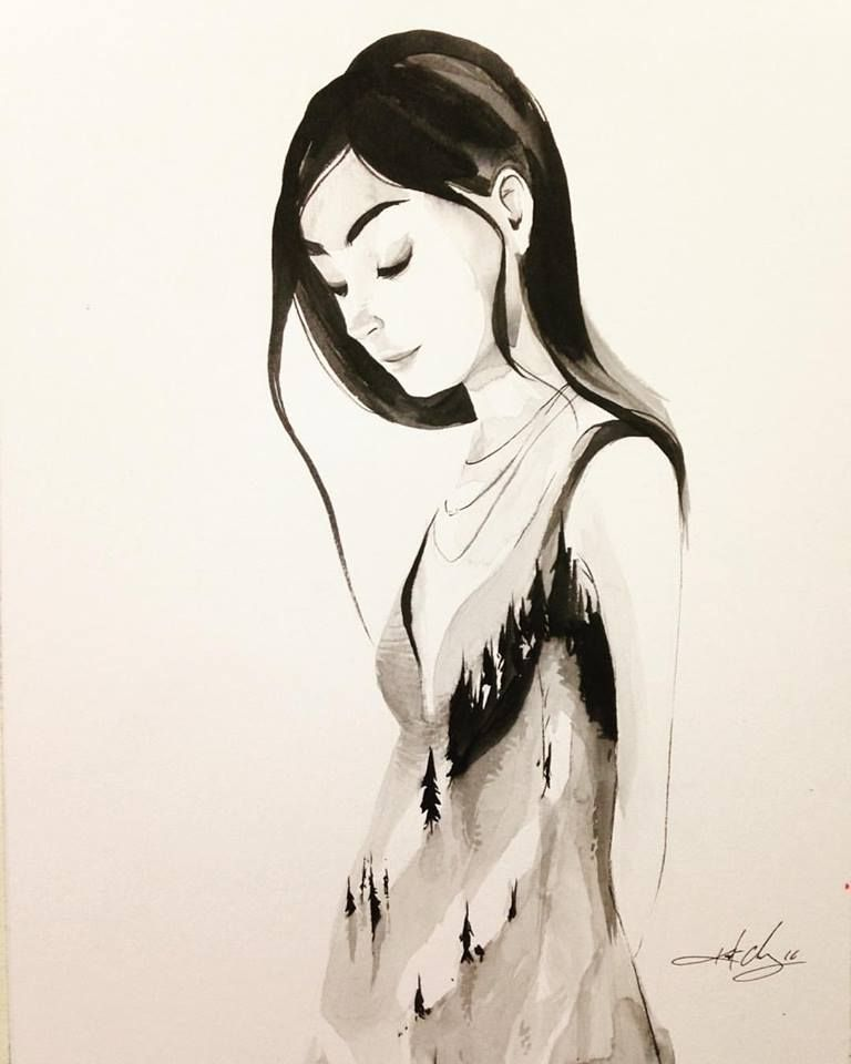 #ink #inktober #inktober2016 #drawing #KurtChangArt #art #illustration #lighting #girl #dress