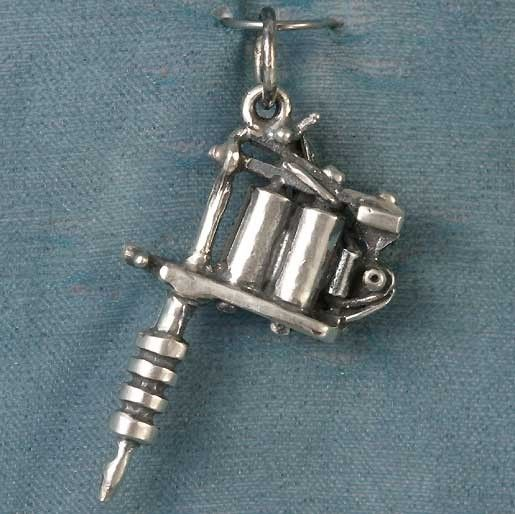 Small tattoo gun sterling silver pendant charm small tattoo i seriously want to tattoo people aloadofball Gallery