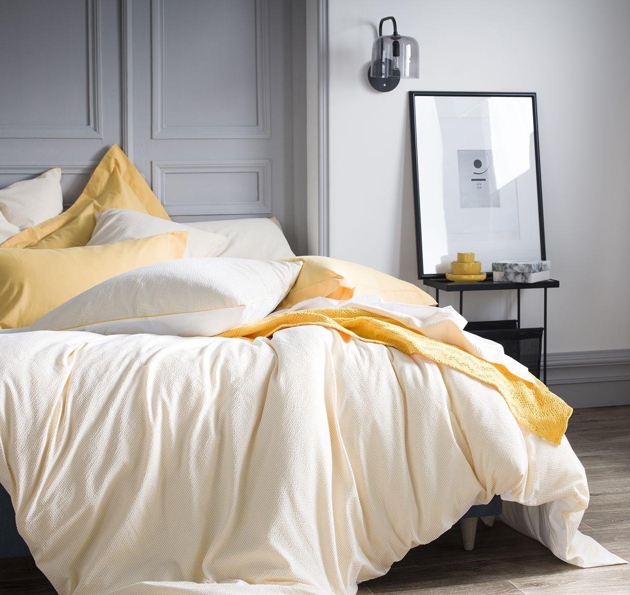 taie d 39 oreiller ray tempo jonquille coton seersucker percale 50x75 d co en orange et jaune. Black Bedroom Furniture Sets. Home Design Ideas