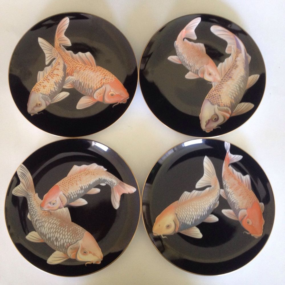 Fitz & Floyd Koi Pond Luncheon Collector Plates Set of 4