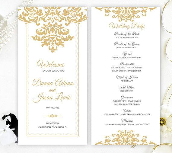 marriage programs printed on luxury pearlescent paper gold damask