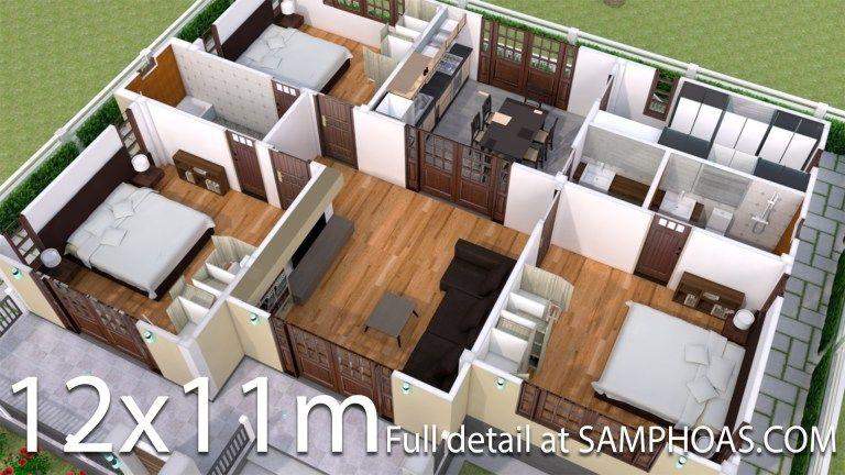 Interior Design Plan 12x11m With Full Plan 3beds Samphoas Plan Interior Design Plan Simple House Design Home Design Floor Plans