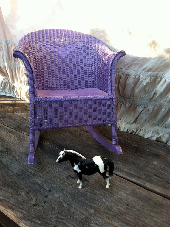 Childs purple wicker rocking chair victorian antique early ...