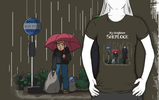 Sherlock tshirt - My neighbor Sherlock http://www.redbubble.com/people/acidbetta/works/12747235-my-neighbor-sherlock