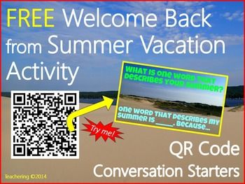 If your students love to chat as much as mine when they return back from Summer Vacation, leverage that excitement and welcome them back with a meaningful and interactive speaking and listening conversation activity using QR codes! **This is part of my larger Weekly QR Code Content Center Activities for the YEAR {A GROWING Bundle!}, which is priced for huge savings! **Students will scan QR Codes that link to engaging, color photographs displaying questions about their summer vacation.