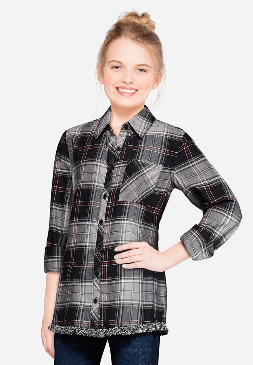 Flannel shirt with suit  Frayed Hem Plaid Shirt original price  available at